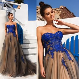 Wholesale Charming Sweetheart Tulle - Charming 2017 A Line Prom Dresses Sweetheart Neckline Lace Appliques Sleeveless Prom Gowns Sweep Length Backless Party Dress