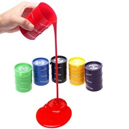 Wholesale Toys Favors - 1 PCS Barrel O Slime Rubber Mud Favors Joke Gag Of Toys Birthday Gift Random Colors