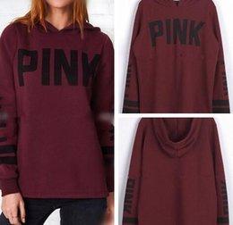 Wholesale Stripe Long Sweater Slim - Pink Letter Hoodies Vs Pink Sweater Letter Women Autumn Tops Stripes Printed Long Sleeve Sweatshirt Hoodies Pullover