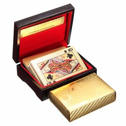 Wholesale Big Playing Cards - High Quality Special Unusual Gift 24K Carat Gold Foil Plated Poker Playing Card With Wooden Box And Certificate Traditional Edition