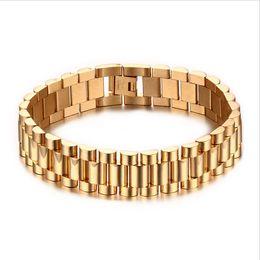 relógio de pulseira chapeada Desconto 15mm Homens De Luxo Assista Banda Pulseira Banhado A Ouro de Aço Inoxidável Strap Links Cuff Bangles Jóias Presente 22 CM BR-201