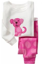 Wholesale Girl Puppy Clothes - Free shipping Cotton cartoon Kids puppy Pajama Sets Clothes girl sleepwear pyjamas