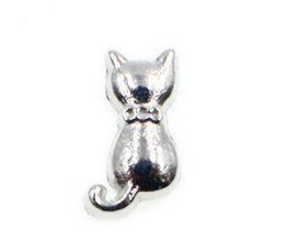 Wholesale Cat Locket - 20PCS lot Silver Color Cat Floating Locket Charms Fit For DIY Glass Living Magnetic Locket Jewelrys As Gift