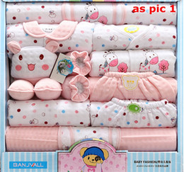 Wholesale Retail Baby Clothing - Retail or Wholesale 0-1 Year old Winter Thickening Baby Clothes Pure Cotton newborn gift box newborn baby underwear 18 sets mother and baby