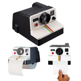 Wholesale Cute Hanging Wall - Wholesale-Free Shipping 1Piece Creative Retro Cute Polaroid Camera-shaped Wall Mounted Roll Paper Holder Tissue Box Bathroom Accessories