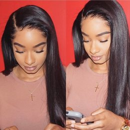 Wholesale Long Straight Hair Side Parting - Side Part 150 Density Straight Full Lace Wig Human Hair Virgin Peruvian Glueless Full Lace Front Straight Human Hair Wigs With Baby Hair