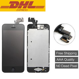 Wholesale Lcd Touch Screen Flex Cable - For Iphone 5 Touch Screen Digitizer Display With Frame Full Assembly + Home Button + Flex Cable + Front Camera 4.0inch Iphone 5g Screen