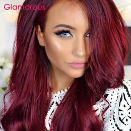 Wholesale Cheap Colored Hair Dye - Glamorous Burgundy Hair Weaves 2 Pieces Peruvian Indian Malaysian Brazilian Hair Bundles Body Wave Straight Human Hair Cheap Colored Weft