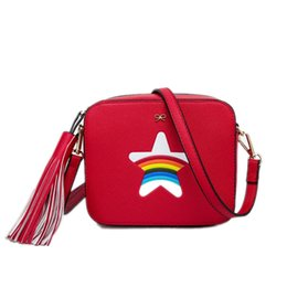 Wholesale Beach Camel - Wholesale-Star Rainbow Flap bag summer beach Famous brand fashion PU leather women handbag Bow ladies shoulder bag Party Messenger