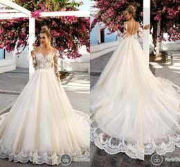 Wholesale Dubai Crystal - Plus Size Long Sleeve Lace Wedding Dresses 2017 Vintage Lace Boat Neck Illusion Bodice Appliques Bridal Gowns Arabic Dubai Wedding Dress