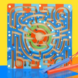 Wholesale Tracks Beads Toy - 1pcs,Wooden ring magnetic track handling mazes to develop children's intellectual puzzle toy slide beads
