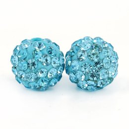 Wholesale Disco Ball Resin - Factory Sales Lt.Aquamrine Resin Shamballa Disco Ball Beads Pave Disco Crystal Size 6mm, 8mm,10mm,12mm 100pcs bag