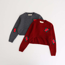 Wholesale Red Rose Sweater - New embroidery rose floral short Crochet Girls Sweaters Knitting Patterns kids Pullover Sweaters Sale Flower Children Knitted Sweaters A810