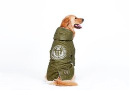 Wholesale golden retriever dogs pets - Army Green Pet Clothes Big Dog Clothes Winter Warm Down Jacket Windbreaker Large Dog Coat For Golden Retriever