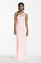 Wholesale Pink Cheap Chiffon Skirt - Cheap Custom Made Custum Made 2016 NEW! Long One Shoulder Corded Lace and Mesh Dress Skirt Style F17063 Bridesmaid Dress
