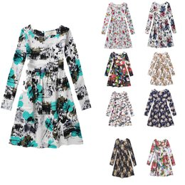 Wholesale long cotton beach skirts - Long sleeve big girls dress children floral skirts kids full printing dresses 9 styles hot sell girl's cotton clothing