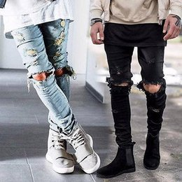 Wholesale mens black jeans 36 - Mens Casual Ripped Skinny Straight Slim Elastic Denim Fit Biker Jeans Pants Long Pants Stylish Straight Slim Fit Jeans Black Blue Size 29-36