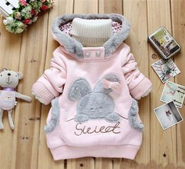 Wholesale Clothes Coats For Rabbits - Wholesale- New 2016 Winter Baby Outerwear Down Jacket Clothing Children Winter Coat for Girls Parka Hoodies Thick Warm Cartoon Rabbit Kids
