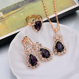 Wholesale Crystal Earrings For Sale - Hot Sale Wedding Gift Jewelry Water Drop Shape Crystal Earrings Necklace Adjustable Rings Set Fashion Jewelry for women