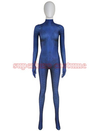 Wholesale Halloween Costumes Blue Men - 2017 New Mystique Superhero Costume spandex halloween cosplay X-men costume zentai suit for Woman female lady girl Free Shipping