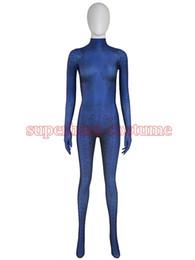Wholesale Men Halloween Customs - 2017 New Mystique Superhero Costume spandex halloween cosplay X-men costume zentai suit for Woman female lady girl Free Shipping