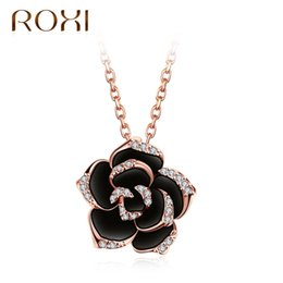 Wholesale Western Necklaces - New Arrival Western Style Jewelry Wholesale Elegant Austrian Crystal Rose Gold Plated Black Rose Necklace One Piece Shipping