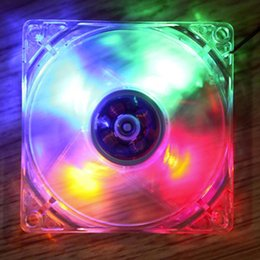 Wholesale Computer Cooling Fan Blue - Wholesale- 120 x 120 x 25mm PC Computer Clear Case Quad 4 Blue Red Colorful LED Light 9-Blade CPU Cooling Fan 12V Wholesale
