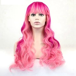 Wholesale Long Rose Pink Wig - Rose Pink Mix Color Cosplay Wig Long Wavy Hair High Temperature Fiber For Women Wigs 24inch