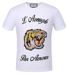 Wholesale Black Par - Summer Fashion Men's Casual TShirts Tiger L'Aveugle Par Amour Short Sleeve Polo Shirts Mens Top White Black XXXL