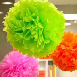 Wholesale Wholesale Tissue Paper Cheap - Wholesale-1pcs 4inch Tissue Paper Pom Poms Flower Balls Display Flower Wedding Party Home Living Room Decoration Cheap Pompoms