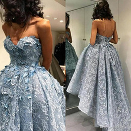 Wholesale Strapless Open Side Prom Dresses - Sky Blue 3D Lace Floral High Low Ball Gown Prom Dresses 2017 Elie Saab Strapless Open Back Flowers Dubai Arabic Occasion Evening Dress