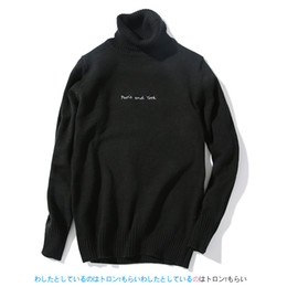 Wholesale Men Dress Sweaters - Wholesale- New Brand Clothing Men Turtleneck Sweaters Letter Solid Male Knitted Pullover Male White Black Red Dress Slim Fit Mens Sweaters
