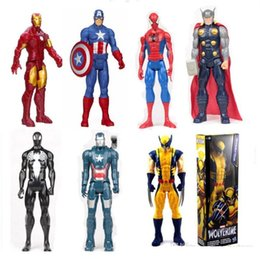 Wholesale Marvel Iron Man Figure - Avengers PVC Action Figures Marvel Heros 30cm Iron Man Spiderman Captain America Ultron Wolverine Figure Toys OTH025