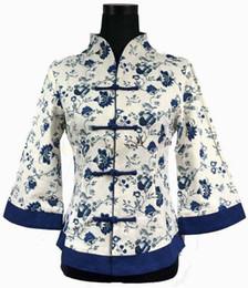 Wholesale Chinese High Collar Jacket - Wholesale- High Fashion Blue Vintage Women's Jacket Linen Coat Flower Chinese Tradition Tang Suit Oversize S M L XL XXL XXXL 4XL 5XL 2218