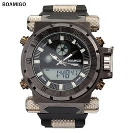 Wholesale High Led Large - BOAMIGO high quality outdoor sports military quartz men's watch DZ7333 large dial LED + pointer dual display GA110