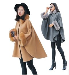 Wholesale Corduroy Cape - New Arrival Hot Sale Fashion Noble Female Winter High Quality Winter Fox Collars Loose Woolen Coat Cape Wool Casual Coat