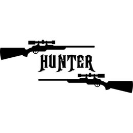 Wholesale Rifle Hunting Deer - 16CM*6.5CM Gun Hunter Hunting Deer Buck Rifle Car Stickers Car Styling Vinyl Decal Sticker Cars Acessories Decoration