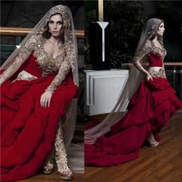 Wholesale kaftan bridal dresses - Kaftan Dubai Arabic Wedding Dresses With Sweetheart Embroidery Beads Long Sleeves A Line Ruffles Elegant Formal Custom Red Bridal Gowns