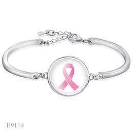 Wholesale Survivor Man - Fashion Adjustable Hope Breast Cancer Awareness Survivor Ribbon Glass Dome Cabochon Silver Open Chain Bracelets For Women Men Girl Jewelry