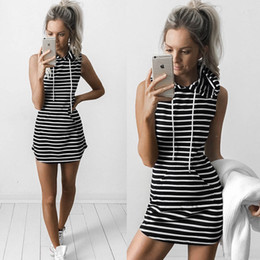 Wholesale One Sleeve Short Dresses - Hot Fashion Designer New Women Casual Hooded Dresses Summer Sleeveless Lady's Street Style Short Dresses Outdoor Sports Striped One Piece
