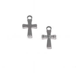Wholesale Wholesale Small Silver Crosses - 1000pcs Silver Tone Stainless Steel Small Crucifix Cross Charm Pendants Connectors DIY Jewelry Findings For Jewelry Making 12mm*7mm