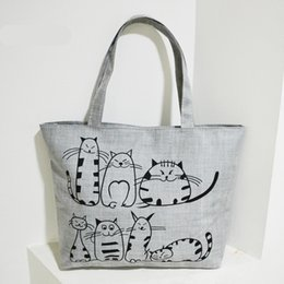Wholesale Large Cat Tote Bag - Grey New Cartoon Cats Printed Beach Zipper Bag Bolsa Feminina Canvas Large Tote Shopping Handbags Women Bags