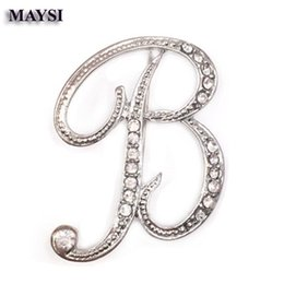 Wholesale Letter B Designs - 2016 New design crystal letter B brooch broches brooches lady pins fashion temperament clothing accessories for women men party