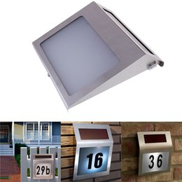 Wholesale Led House Number Lights - Wholesale-Led Solar Light Outdoor Stainless Solar Powered 3LED Illumination Doorplate Lamp House Number Light outdoor lighting hot sale
