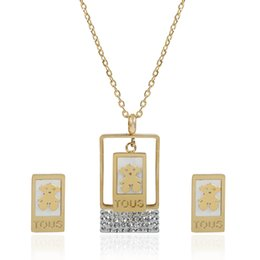 Wholesale Turkish Link Gold - TL Link Chain Bear Jewelry Set Turkish Jewelry Set Stainless Steel Zricon Pendant Necklace Set For Women