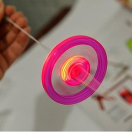 Wholesale toys spin flying saucer - Cheap Led Fidget Spinner for Kids Led Toys Sound Lighted UFO Pull light-emitting flywheel flash top hand flying saucer Spinning Toys Gifts