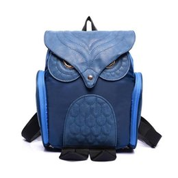 Wholesale Patchwork Owl Backpack - Wholesale- Women Backpacks 2016 Famous Brand Nylon PU Leather Patchwork Cute Owl Shape Gilrs Female School Bags Ladies Backpack