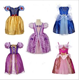 Wholesale Short Dress Sleeping - wholesale 9color Beauty and the beast belle princess dress girl purple rapunzel dress Sleeping beauty princess aurora flare sleeve dress