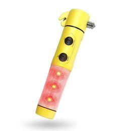 Wholesale Led Flashing Beacon Lights - Window Breaker Seat Belt Cutter Flashing Emergency Beacon Light LED Flashlight Qxkej's 4 in 1 Auto Safety Escape Tool Free shipping