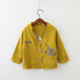 Wholesale Kids Christmas Cardigan - Christmas Girls Knit Embroidery Cardigans Baby Girl Fashion Hallow Out Sweater Kids Girl Autumn V-neck Outwear 2017 Kids Clothing
